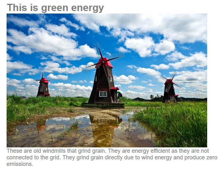 Clean Green Energy Comes From Windmills Of Old Not New
