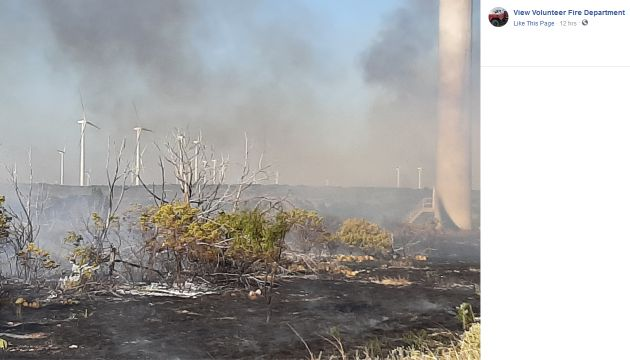 View Volunteer Fire Department had to respond to a wind turbine fire in Texas that burned 100 acres minimum and is said to have been only 10% contained as of 8/26/2019